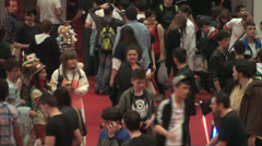 Bucharest, May The 10th, East European Comic Con, Huge Crowd Of People Aerial - stock footage