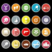 Sport game athletic icons with long shadow Stock Illustration
