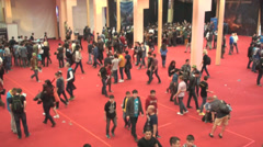 Bucharest, May The 10th, East European Comic Con,People In The Main Hall Aerial - stock footage