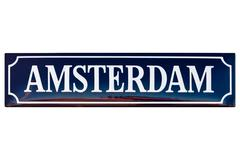 Vintage enamel street sign with the text amsterdam Stock Photos