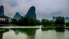 The bamboo raft on the Li river in Yangshuo, Guangxi province, China Stock Footage