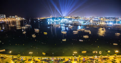 Beautiful 4K time lapse of Valletta harbour in Malta at night Stock Footage