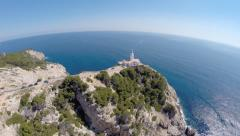 Cala Rajada Lighthouse View - Aerial Flight, Mallorca Stock Footage
