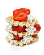 Waffles with Strawberries and Whipped Cream - stock photo