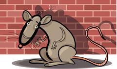 Stock Illustration of cartoon rat against brick wall