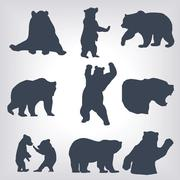 action bear silhouette set - stock illustration