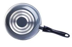 back side of black frying pan - stock photo