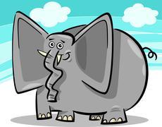 Stock Illustration of funny elephants cartoon against sky