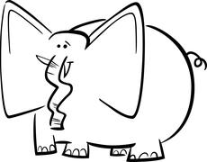 Stock Illustration of elephants cartoon for coloring book