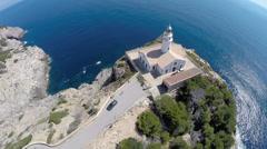 Beautiful Lighthouse on Mediterranean Cliffs - Aerial Flight, Mallorca Stock Footage