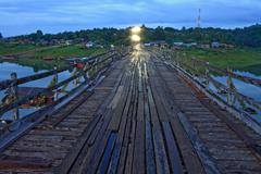 Wooden walkway bridge Stock Photos
