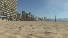 Poniente beach in benidorm Stock Footage