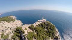 Cala Rajada Coastline with Lighthouse - Aerial Flight, Mallorca Stock Footage