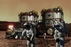 Digital illustration of the exploration of mars Stock Illustration