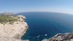 Beautiful Seaview from Cala Rajada´s Cliffs - Aerial Flight, Mallorca Stock Footage