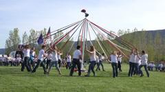 May Pole School celebration fun fast motion 4K 0302 Stock Footage