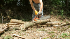 woodcutter working with chainsaw - stock footage