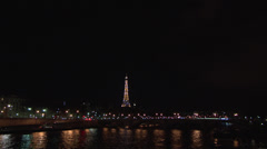 Paris - France - Night - Seine river and the Eiffel tower - HD Stock Footage