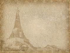 Vintage Paper with Eiffel Tower Paris Stock Photos