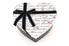 Stock Photo of isolated black and white holiday gift box in heart shape