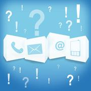 contact us business light blue blackground design - stock illustration