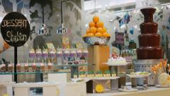 Food gourmet hotel resort restaurant buffet sweets cakes Stock Footage
