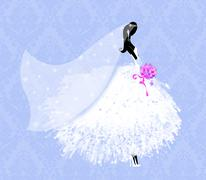 Stock Illustration of beautiful young bride