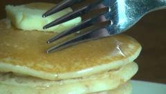 Cutting Pancakes, Syrup, Breakfast Foods, Brunch Stock Footage
