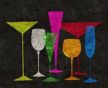 Stock Illustration of stylized drinks on a black background