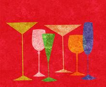 Stock Illustration of stylized drinks on a red background