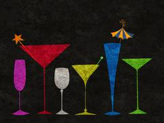 Stock Illustration of stylized drinks in a row