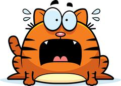 Terrified little cat Stock Illustration