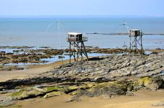 Carrelets at Saint-Michel-Chef-Chef in France Stock Photos