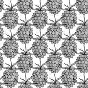elegant seamless pattern with decorative raspberries, healthy food background - stock illustration