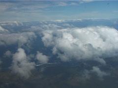 Viti levu coastline through clouds, UP11546 - stock footage