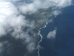 Viti levu coastline through clouds, UP11551 - stock footage