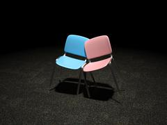 blue and pink chair bright illuminated leaning against each - stock illustration