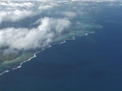 Viti levu coastline through clouds, UP11553 - stock footage