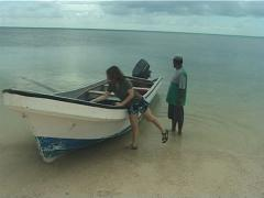 Liz in banana boat Kadavu, people or person in shot, UP11567 Stock Footage