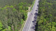 Stock Video Footage of highway with cars  in sunny day. Aerial top  view