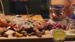 Food gourmet in hotel resort restaurant buffet bread meat steak Stock Footage