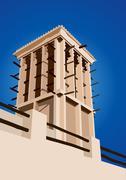 Historical wind tower vector illustration dubai, united arab emirates Piirros