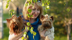 Girl and Yorkshire Terriers Stock Footage