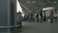 Stock Video Footage of Trolley POV passengers outside Stansted (speeded up)