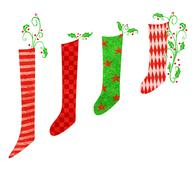 Stock Illustration of red and green christmas stockings