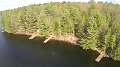 Spring Cottage Lake Aerial 02 Stock Footage