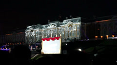 Light effects on Grand Palace during laser show, Peterhof Stock Footage