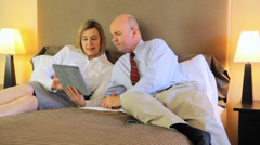 Mature Married Couple In A Hotel Bedroom Stock Footage