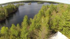 Spring Cottage Lake Aerial 01 Stock Footage