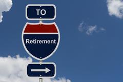 retirement this way - stock illustration